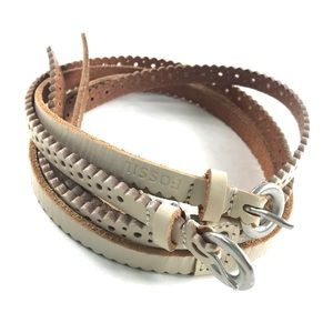 Fossil Double Skinny Leather Belt Ivory